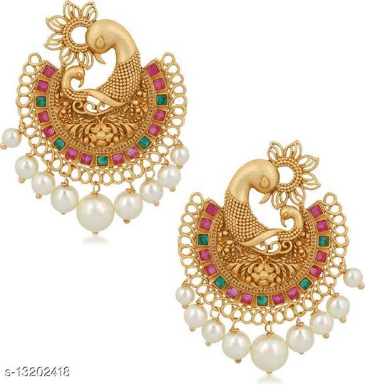 Wedding Jewellery Traditional Ethnic Matte Gold Plated Feathery Peacock Chand Bali Earrings Emblished with Red and Green Kundan Stones for Girls and Women