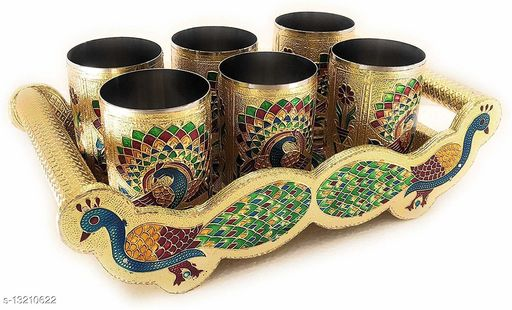 RANIC Peacock Design Fancy Serving Tray with Glass and Handle Designer Handicraft Serving Tray Set (Golden) (pack of 7) 12 x 7 x 3.5 Inch
