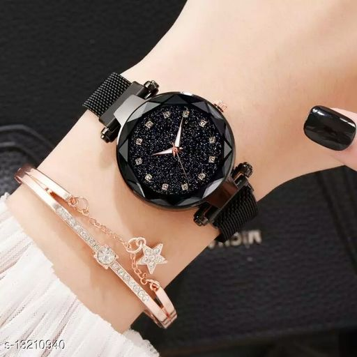 fancy bracelet Black Color ladies watches girls wrist watch for women style fashion female watch with magnet mesh strap stylish girls watch new model Analog Watch - For Girls