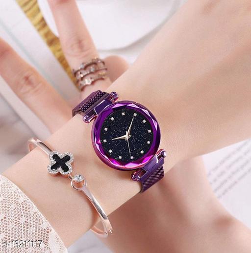 Purple Women Watches Ladies Wrist Watch for Girls Style Analog Fashion Female Clock with Magnet Mash Strap Stylish Girls Watch New Model 2020 diamond Analog Watch - For Girls
