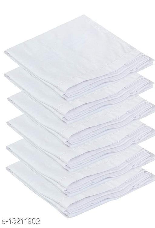 ARNAH TREASUREhandkerchief men cotton large size handkerchiefs White plain (PACK OF 6)