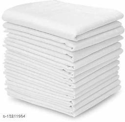 ARNAH TREASUREhandkerchief men cotton large size handkerchiefs White plain (PACK OF 10)