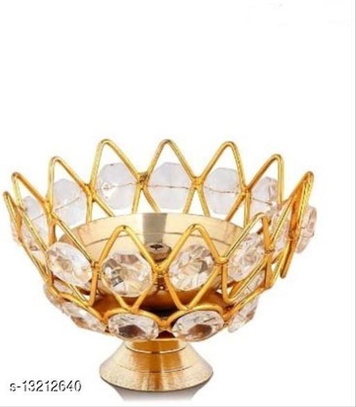 Heaven Decor Small Brass and crystal Akhand diya  Bowl style Brass Table Diya (Height: 1.9 inch)