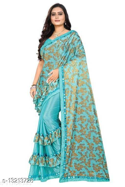 Trendy Bollywood Partywear Malai Silk Saree with Blouse Piece