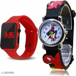 latest trendy red digital squre cut & black spider men watch for age group 8 to 17
