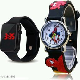 latest trendy black digital and black spider men watch for age group 8 to 17 years-children-kids
