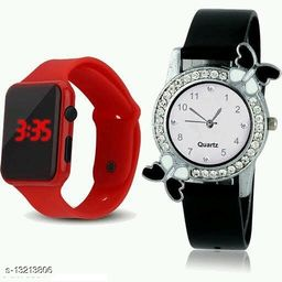 latest trendy red digital and black bf wwatch for age group 8 to 18 years children-kids