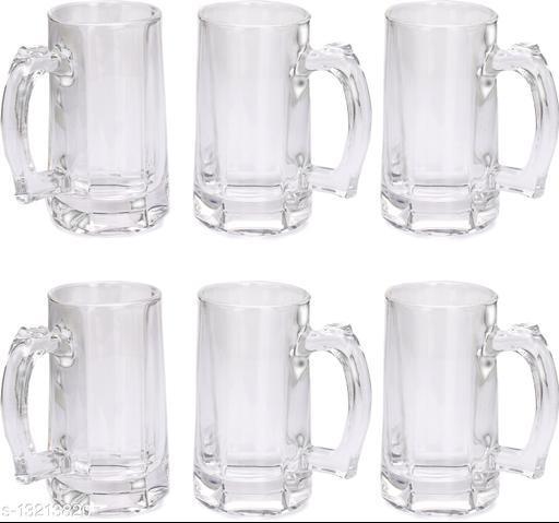 Afast Stylish Designer Beer Mug Set with Handel of 6, Glass, Transparent, 360 Ml