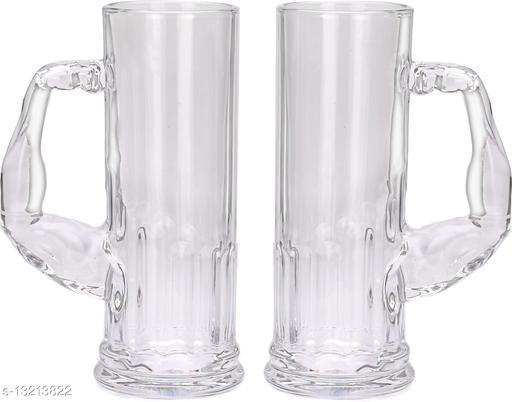 Afast Stylish Designer Beer Mug Set with Handel of 2, Glass, Transparent, 590 Ml