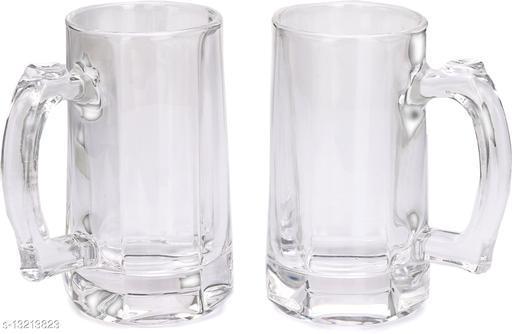 Afast Stylish Designer Beer, Juice, Shake, Glass Mug, for Home, Bar, Fruit Baar, Transparent, Clear (Set of 2) with Handle, 360 Ml