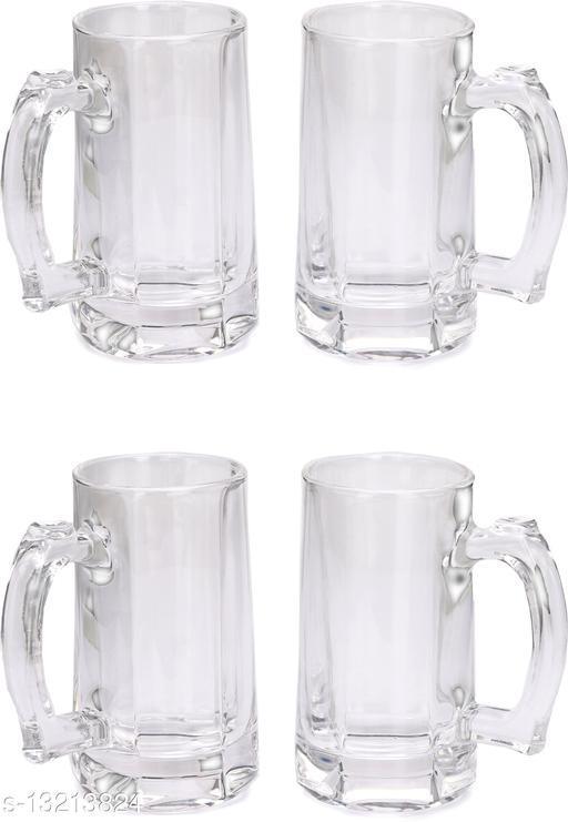 Afast Stylish Designer Beer Mug Set with Handel of 4, Glass, Transparent, 360 Ml