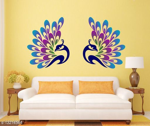 Walltech Decorative Peacock Feather Wall Sticker