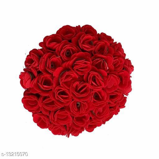 VinshBond Full Red Hair Gajra Bun Hair Flower Gajra Artificial flower gajra Hair Accessories, Red, Pack of 1