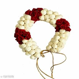 VinshBond  Flower Hair Gajra Bun Mogra Gajra Juda Bun Accessories for Women in Red White Color Pack of 1