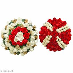 VinshBond Full Gajra Bun Hair Flower Gajra Artificial flower gajra Hair Accessories for women & girls, Red & White pack of 2