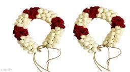 VinshBond Hair Bun Gajra Flower Mogra Gajra for Hair Artificial Juda Accessories for Women in Red White Color Pack of 2