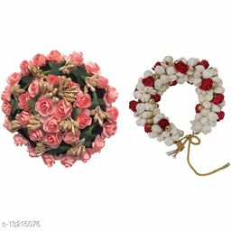 VinshBond Full Gajra Bun Hair Flower Gajra and Mogra Gajra Artificial flower gajra Hair Accessories, Multicolor, pack of 2
