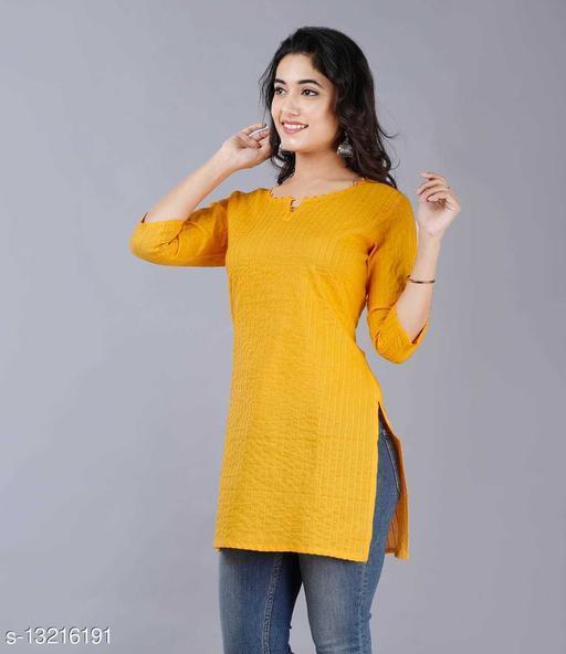 Women Cotton Short Kurti Solid Mustard Kurti