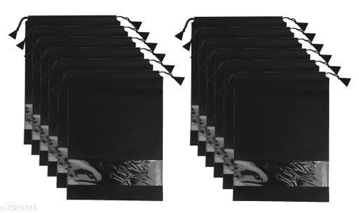 Quick Organiser Fabric Shoe Cover Travelling Storage Footwear Wardrobe Organizer Bag Pack of 12 Black