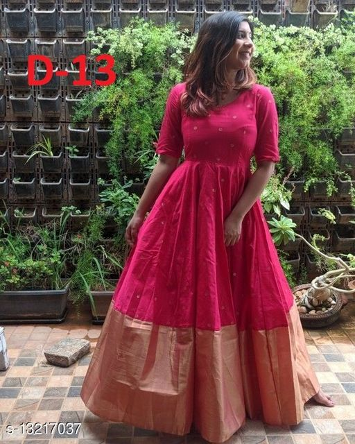 Maroon Tapeta Silk Embroidery Work Readymade Gown