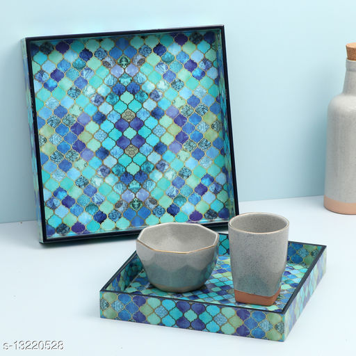 Enamel Coated Multipurpose Set of 2 Square Trays  ( Blue Drops design)
