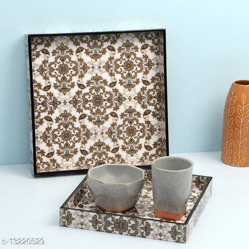 Enamel Coated Multipurpose Set of 2 Square Trays  (Brown Flowers design)