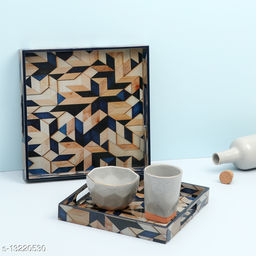 Enamel Coated Multipurpose Set of 2 Square Trays  ( Blue Mosaic design)