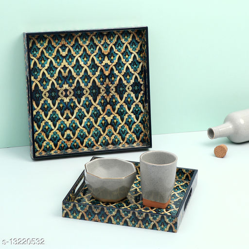 Enamel Coated Multipurpose Set of 2 Square Trays  (Greek design)