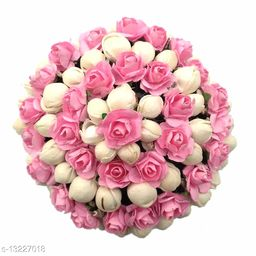 VinshBond Flower Gajra Mogra Hair GajraBun for Women And Girls Bun Styling Accessories, Pack of 1, Pink