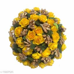 VinshBond  Hair flower Full Juda Bun Hair Flower Gajra for Bridal and Parties for Women, Yellow, Pack of 1