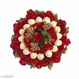 VinshBond  Artificial flower Full Juda Bun Hair Flower Gajra for Bridal and Parties for Women in Red & White Color, Pack of 1
