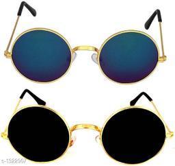 Stylish Trendy Fiber Unisex Sunglasses (Pack Of 2)