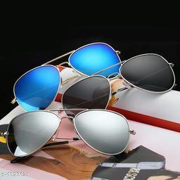 Stylish Trendy Fiber Unisex Sunglasses (Pack Of 3)