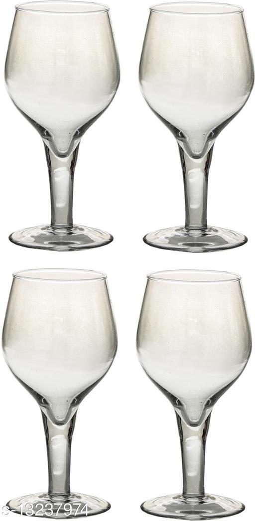 Afast Multipurpose Designer Look Transparant  Glass Set Of 4