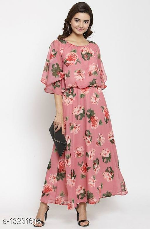 Boat Neck  Maxi Dress with Angel Sleeves