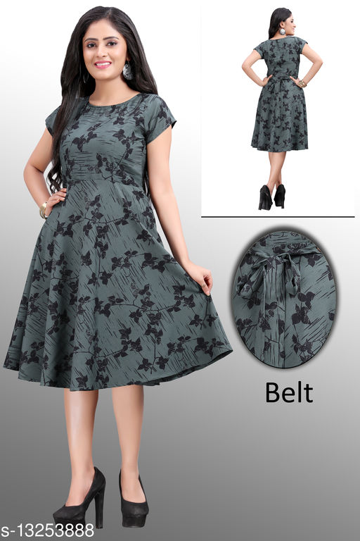 Floral Printed Knee Length Dress for Women