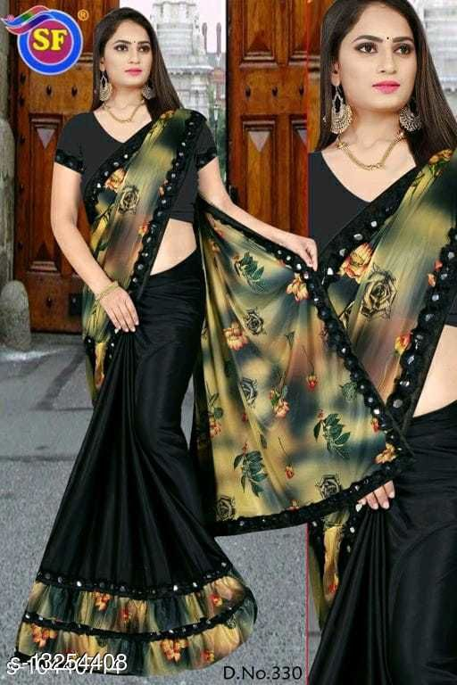 Bollywood Lycra Printed Saree with Blouse Piece