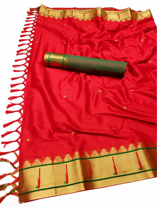 Muniya Border Traditional Paithani Silk Sarees With Contrast Blouse Piece(Red & Gold)
