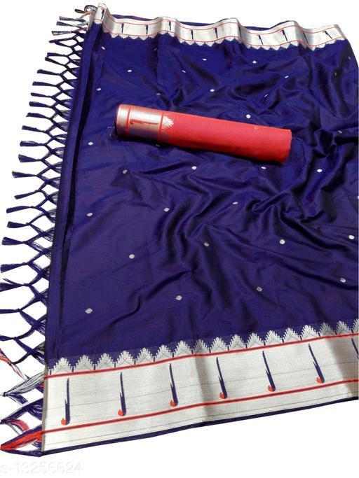 Muniya Border Traditional Paithani Silk Sarees With Contrast Blouse Piece(Navy & Silver)