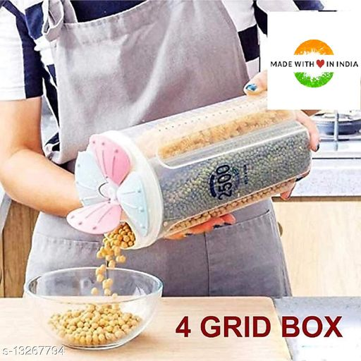 JALARAM 2.5L Plastic Kitchen Food Cereal Grain Bean Rice Storage Tank Snack Container Boxes with Lid Scale Bottles Jars & Boxes (4 Section)