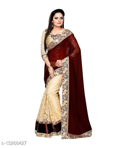 Poly Georgette Net Embroidery Saree