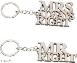 Mrs.always Right+Mr.alwaysright Stylish Metal Antique Single Key Ring Hook/Latest Fashion Keychain Holder for Bikes,Car and Gift Key Chain