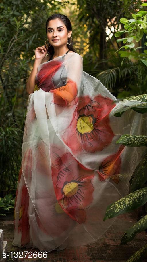 Organza Printed Saree With Banglori Satin Blouse