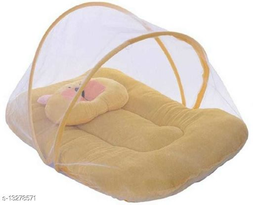 Soft and Comfortable Velvet Fabric New Born Baby Bedding Set with Protective Mosquito Net and Pillow  (Age : recommended 0-6 months)
