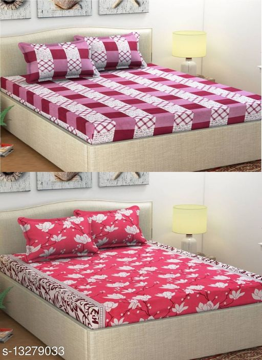 BD DECOR Polycotton Printed 2 Double Bedsheet with 4 Pillow Covers 144 TC Size- 90x90