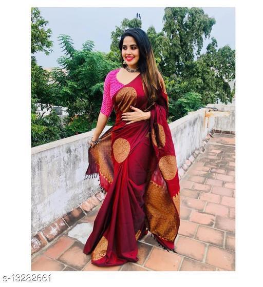 Womens jacquard soft lichi silk saree with blouse piece