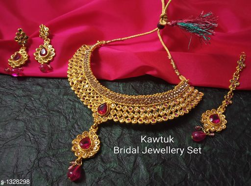 Jewellery Set Beautiful Gold plated Copper Choker Jewellery Set  *Material* Copper  *Size* Free Size  *Description* It Has 1 Piece Of Choker Necklace, 1 Pair Of Earring With 1 Piece Of Maangtikka  *Plating* Gold  *Work* Kundan & Beaded  *Sizes Available* Free Size *   Catalog Rating: ★4.4 (19)  Catalog Name: Exquisite Beautiful Gold plated Copper Choker Jewellery Set CatalogID_170339 C77-SC1093 Code: 914-1328298-