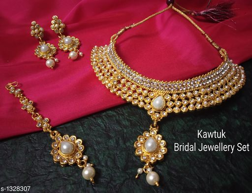 Jewellery Set Beautiful Gold plated Copper Choker Jewellery Set  *Material* Copper  *Size* Free Size  *Description* It Has 1 Piece Of Choker Necklace, 1 Pair Of Earring With 1 Piece Of Maangtikka  *Plating* Gold  *Work* Kundan & Beaded  *Sizes Available* Free Size *   Catalog Rating: ★4.4 (19)  Catalog Name: Exquisite Beautiful Gold plated Copper Choker Jewellery Set CatalogID_170339 C77-SC1093 Code: 914-1328307-