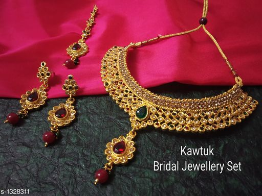 Jewellery Set Beautiful Gold plated Copper Choker Jewellery Set  *Material* Copper  *Size* Free Size  *Description* It Has 1 Piece Of Choker Necklace, 1 Pair Of Earring With 1 Piece Of Maangtikka  *Plating* Gold  *Work* Kundan & Beaded  *Sizes Available* Free Size *   Catalog Rating: ★4.4 (19)  Catalog Name: Exquisite Beautiful Gold plated Copper Choker Jewellery Set CatalogID_170339 C77-SC1093 Code: 914-1328311-