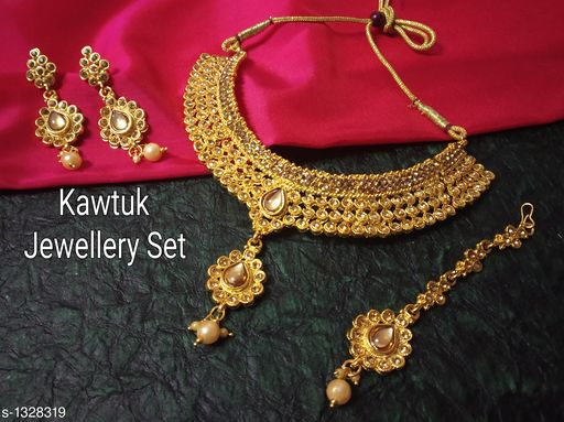 Jewellery Set Beautiful Gold plated Copper Choker Jewellery Set  *Material* Copper  *Size* Free Size  *Description* It Has 1 Piece Of Choker Necklace, 1 Pair Of Earring With 1 Piece Of Maangtikka  *Plating* Gold  *Work* Kundan & Beaded  *Sizes Available* Free Size *   Catalog Rating: ★4.4 (19)  Catalog Name: Exquisite Beautiful Gold plated Copper Choker Jewellery Set CatalogID_170339 C77-SC1093 Code: 914-1328319-